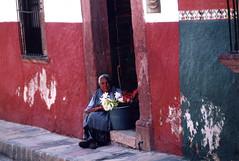 photograph by Bob Murphy - flower seller in San Miguel de Allendo, Mexico (casalosmonos) Tags: bobmurphy robertmartinmurphy photograph murphy mexico sanmiguel woman flowerseller streetscene