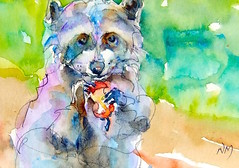"""mornin'"" - watercolour (Nora MacPhail) Tags: art watercolor painting daily painter watercolour raccoon noramacphail worldwatercolormonth2016 worldwatercolormonth"