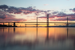 A bridge not far enough (reiver iron - RMDPhotos.co.uk) Tags: river firth forth queensferry crossing bridge construction sunset reflwction long exposure lothian fife edinburgh rosyth scotland golden hour