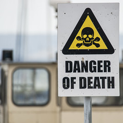 No Need to be so Dramatic! (stevedewey2000) Tags: hampshire lymington marine sign danger skull crossbones warning 11 square squareformat harbour