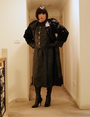 Empowerment of Leather (3) (Furre Ausse) Tags: black leather skirt boots gloves dominant maitresse mistress domina full length coat long fur