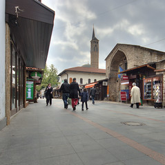 La tour d'horloge et le march Gazi-Husrev Beg (Vincent Rowell) Tags: raw tonemapped hdr balkans2016 sigma816mm sarajevo bosniaandherzegovina clocktower market