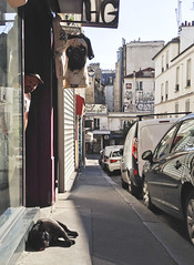 Miah and the Sunbathing Dog (ijp01) Tags: france paris montmatre 18tharrondissement culteparis pug dog shop exterior streetscene sidewalk sunshine man ruetholoz awning cars graffiti streetart sunbathing storefront
