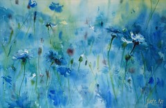 Wild sapphire (katekos) Tags: summer meadow cornflowers blue flowers summery buds blues watercolour watercolor painting art akwarela obraz kwiaty chabry katekos