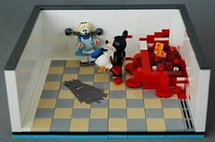 AFOL vs AFOL - Mickey finally snapped.. (adde51) Tags: adde51 lego moc disney horror afol swebrick mickey donald alice vig vignette blood legore minifig minifigure vs contest