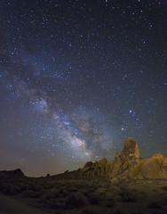 Milky Way over Alabama Hills 2 (michael okimoto) Tags: california ca camping mountain night stars landscape spring rocks tent astrophotography milkyway alabamahills