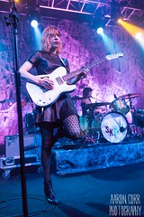 Sleater Kinney (Strangelove 1981) Tags: ireland music dublin leather rock photography concert dress guitar live gig guitarist sleaterkinney vicarstreet carriebrownstein janetweiss leatherdress