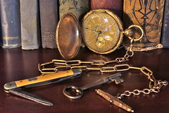 Pocket Watch and Pocket Knife (Piedmont Fossil) Tags: english drive antique watch chain timepiece pocket fusee robertroskell