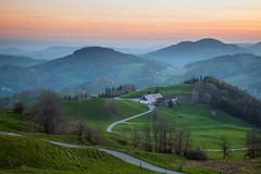New Deal (S l a w e k) Tags: road morning mountains green grass misty dawn switzerland spring twilight swiss basel hills jura winding hazy rolling baselland