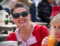 Party Gals (The Image Den) Tags: girls people smile fun candid drinking streetphotography hampshire shades event spotted lipstick southampton streetparty goodtime guildhallsquare 40sstyle ve70
