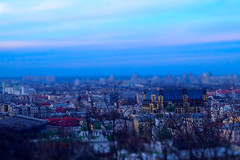 Kyiv in miniature (Podol) (UkrainianGentleman) Tags: city town miniature tiltshift panorama wallpaper view kiev kyiv ukraine podol sky evening buildings toyland sony a58 blue colors cityscape skyline skyscraper travel dreamscape eastern europe old