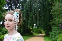 Wearing white wisteria kanzashi. (Bright Wish Kanzashi) Tags: private tsumamizaiku kanzashi handmade silk hairpin upin wearing model girl hair updo white wisteria