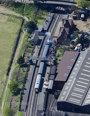 Weybourne Station and works operated by The North Norfolk Railway - the Poppy Line (John D F) Tags: norfolk aerialview aerial railwaystation trainstation aerialphotography sheringham eastanglia aerialphotograph northnorfolkrailway poppyline aerialimage droneview aerialimagesuk