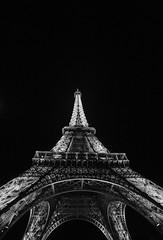 The Tower (Justin Sharer) Tags: eiffel tower paris france europe blackandwhite bw nighttime canon 5dmarkiii 1635mm