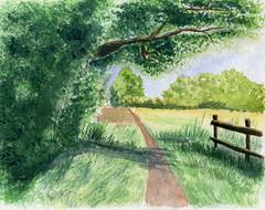 la barrire (ybipbip) Tags: road tree watercolor painting landscape paint peinture watercolour acuarela paysage arbre chemin pintura aquarell acquerello akvarell