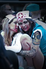 Spooky (larsdamsgaard2) Tags: person 2016 carnival aalborg spooky blood nurse vampire tattoo leg arm face portrait eyes females