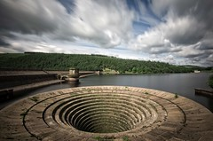 'Dry puddle'...[Explore] (Taken-By-Me) Tags: takenbyme tower blue clouds scene ladybower reservoir plughole plug hole dry sun sky nikon d750 movement motion yorkshire green trees walled wall turrett scenery water still