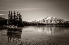 Banff-70 (TheReilDeal) Tags: mtrundle mountain reflection banff banffnationalpark blackandwhite lake lakeminnewanka