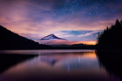 Darkglow (Murphy Osborne Photo) Tags: park sky mountain lake reflection tree water fog night clouds oregon reflections way stars trillium high mt nightscape pacific low ngc lakes peak calm crest astro mount trail national hood pct milky starscape