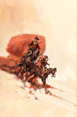 Tall for a Texan by Jerome Podwil, 1965 (Tom Simpson) Tags: jeromepodwil illustration painting vintage tallforatexan 1965 1960s western cowboy horse