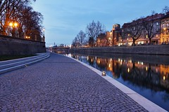 Walkway along the river Elbe (safris76) Tags: architecture blue bluehour city clouds czech darkness elbe europe historicalbuilding hradeckralove lamp light longexposure lowlight mirror night old oldtown pavement public reflection river sidewalk stair travel walkway water