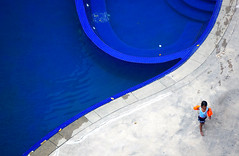 which side? (jolantamazur) Tags: swimmingpool girl blue diagonal curve geometry asymmetry negativespace viewfromabove highvantagepoint telephoto minimalism water wet