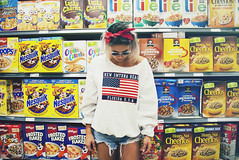 Crunch (andreannelupien) Tags: grocery grocerystore frootloops cereals cereal food foodies girl flag hoodie short grunge fashion portrait fun funny life chocolate cherrios bee box boxes concept conceptual idea ideas imagination imagine creativity girly glasses