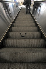 rolling smiley (jayzeapix) Tags: vienna subway staircase smiley u bahn rolling rolltreppe