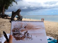 Croquis  l'Ermitage (P h i l de couleur) Tags: ocean reunion ink sketch aquarelle sable lagoon dessin ombre tropical runion encre racine croquis vgtation lagon reunionisland