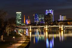 Frankfurt - Westhafen tower and Main. View from Eiserner Steg (andre.douque) Tags: skyline frankfurt main westhafentower beleuchtung langzeitbelichtung mainufer gerippte