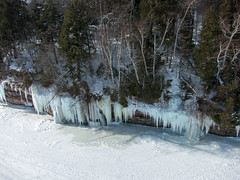 Grand Island Ice Caves (Invinci_bull) Tags: winter snow kite ice michigan superior aerial greatlakes kap upperpeninsula lakesuperior aerialphotography kiteaerialphotography icecaves munising grandisland icecliffs munisingbay michigansupperpeninsula grandislandnationalrecreationarea giantrokkaku