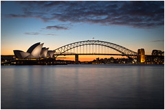 Sunset at Sydney .. (:: edgar 37 :: 1.8 Million + views :: THANKS !!) Tags: longexposure bridge water skyline night canon reflections evening harbour sydney australia newsouthwales australien operahouse hafen abends reflektionen mrsmacquarieschair ef24105mmf4lisusm canoneosd canoneos5dmarkii
