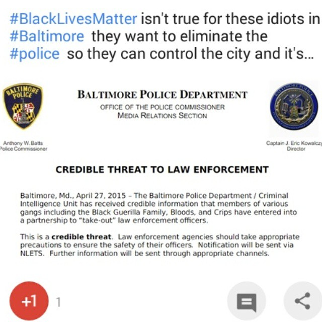 #blacklivesmatter isnt true for these idiots in #baltimore expanding their criminal empire is!