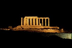 Poseidon temple litted in the evening (alexandros9) Tags: ancient poseidon temple cape sounion greece