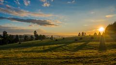 The Hay (Johann Glaes) Tags: morning summer sun mist clouds sunrise de landscape outside dawn soleil twilight belgium belgique belgie hay brume foin lever matin wallonie wallonia