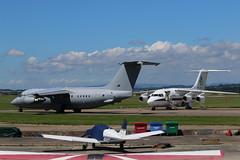 ZE708 & ZE700. (aitch tee) Tags: aircraft military bae146 royalairforce walesuk cardiffairport ttail ze700 vipvisitor ze708 maesawyrcaerdydd pmsvisittowales