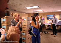Moment of Relief after Delivery (Greenpeace USA 2016) Tags: colorado ban fracking petition truck delivery fossilfuel oil gas denver coalition