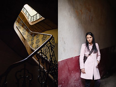 Julia_Lviv_2013 ( ) Tags: 114 50mm 128 20mm 5dmarkii 5dmark2 canon diptych   ukraine lviv lww outdoor museum architecture indoor stairs woman beautiful