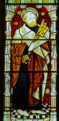 Much Marcle Herefordshire - West Window - Saint Peter (David Cronin) Tags: muchmarcle herefordshire bartholomew saintbartholomew stained glass stainedglass kempe cekempe peter saintpeter
