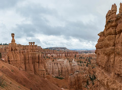 Thors Hammer and the sisters. (jametalb) Tags: hdr utah landscape panorama nature panoramic brycecanyon sky overcast landscapes thorshammer thesisters cloudy
