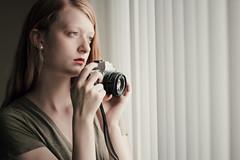 Contemplation (Abby Kroke) Tags: girl woman lady female camera film antique window blinds lips face portrait photographer self eyelashes eyes