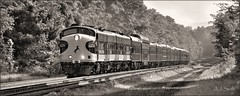 Timeless (Images by A.J.) Tags: train railroad railway rail black white infrared sepia monochrome norfolk southern passenger heritage classic ocs office car special 955 latrobe derry pittsburgh line pennsylvania laurel highlands signal emd f7