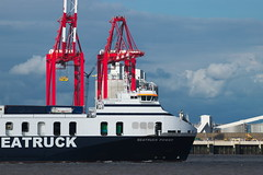 Seatruck Power Front (frisiabonn) Tags: seatruck power mersey river marine sea ship boat merseyside liverpool new brighton megamax cranes bow shape vessel uk great britain england united kingdom seaside outdoor maritime cargo ro roro