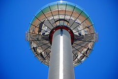 i360 in the sky (zawtowers) Tags: brighton sussex seaside resort city centre august 2016 warm sunny blue sky sunshine dry british airways ba i360 observation tower vertical cable car geometric wheel newly opened reflection beach promenade sea zoom highest point 450 feet