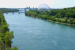 The Biosphere (peterkelly) Tags: digital canada northamerica parcjeandrapeau montreal biosphere stlawrenceriver water dome expo67 bridge longueuil quebec osheaga osheagamusicartsfestival 2016