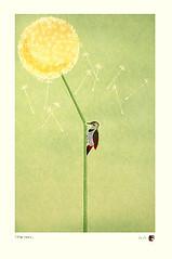 Dandelion and northern flicker (Japanese Flower and Bird Art) Tags: flower dandelion taraxacum asteraceae bird northern flicker colaptes auratus picidae ikki matsumoto modern screenprint print japan japanese art readercollection