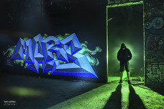 Mars.. (neil rushby photography) Tags: light painting grafitti lasers mars graff factory blades silhouette