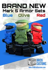 Mark 5 Armor Sets! (X39BrickCustoms .com) Tags: lego custom injection molded mark 5 halo armor olive red blue spartans space sci fi
