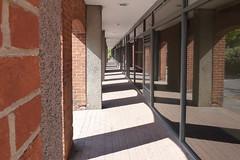 Sunlight, shadows & reflections (Polyrus) Tags: windows sunlight architecture reflections vanishingpoint shadows bricks masonry surrey guildford redbrick businessunits