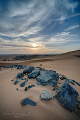Blue Rocks (Ibrahim.Alghamdi) Tags: blue sunset orange sunrise landscape dessert sand saudi arabia jeddah بر makkah مستوره مكه سماء صحراء رمل جده صحاري mastorah ibrahimmalghamdi